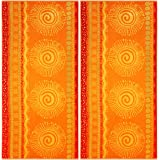 COTTON CRAFT Malibu Sun and Sea Set of 2 Oversized Cotton Jacquard Woven Velour Beach and Pool Towels, 39 inch x 68 inch, Ora