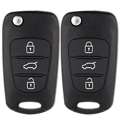 ECCPP 2X Key Fob Shell Case kia soul 2011 key fob 3 Buttons Replacement fit for 07 08 09 10 11 12 13 Uncut Keyless Entry Remote Control Car Kia Rio/Rondo/Soul/Sportage: Automotive