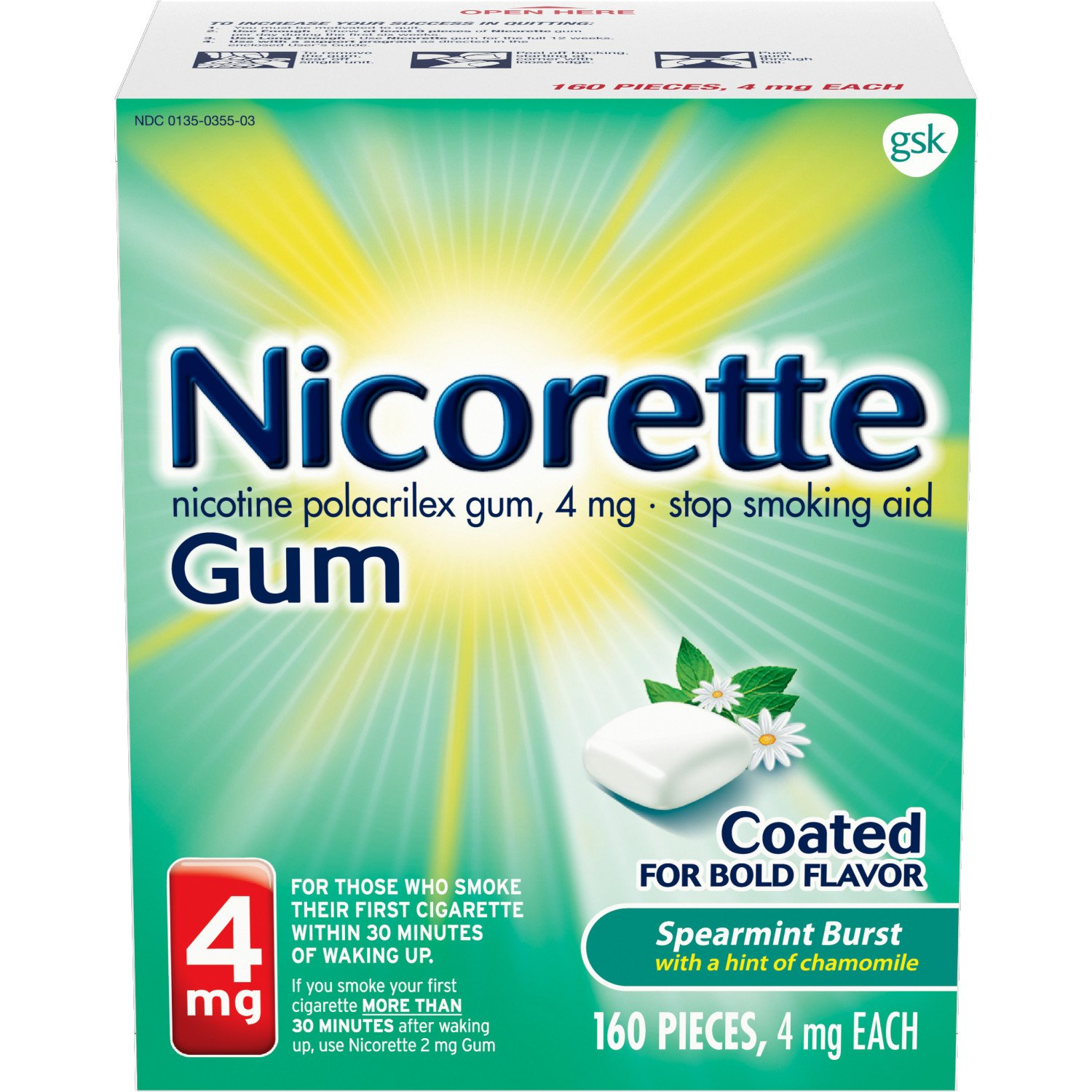 Nicorette Nicotine Gum Spearmint Flavor Coated 4 mg Stop Smoking Aid, 160 count