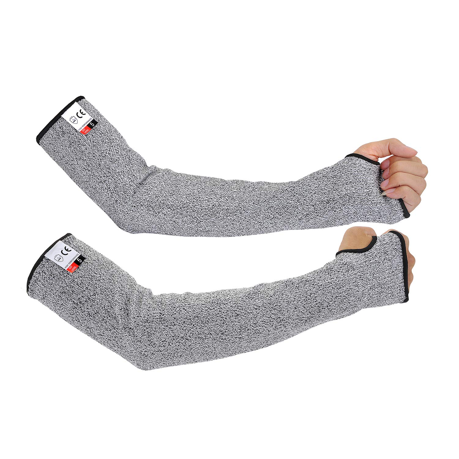 Anti Cut Resistant Arm Sleeves with Thumb Hole, Safety Protective Sleeves Abrasion Resistant with Level 5 Protection 18 inch Long and 5 inch Width Idea for Gardening Glass Handling(1 Pairs one Pack)
