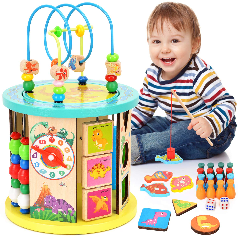 Dkinghome 10 in 1 Aktivit/ätsw/ürfel Holz Motorikw/ürfel Activity Cube Bead Maze Aktivit/ät W/ürfel Perle Labyrinth Mehrzweck Lernspielzeug f/ür Baby Kinder