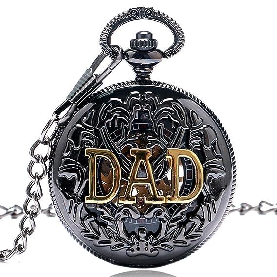 YISUYA Dad Manual semiautomático Reloj de bolsillo mecánico para padre Daddy, Vintage colgante relojes, regalos del día del padre: Amazon.es: Relojes