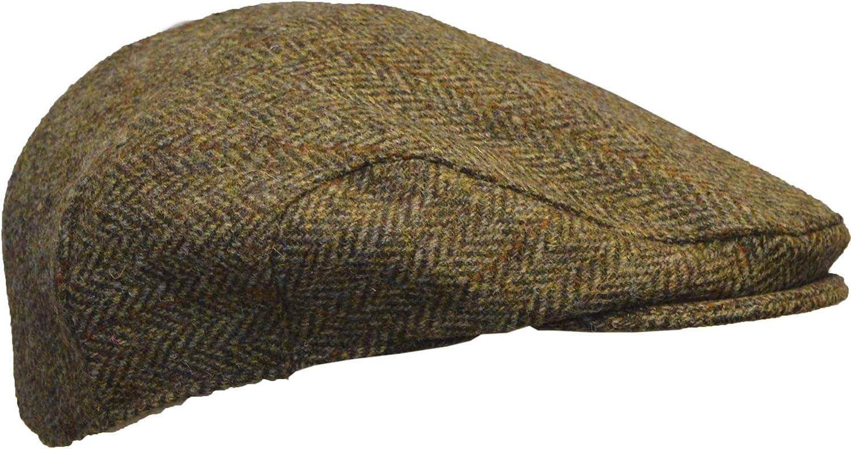 S-XL Uni-Sex Derby Harris Tweed Herringbone Flat Cap Walker /& Hawkes Charcoal