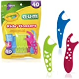 GUM Crayola Kids' Flossers, Grape, Fluoride Coated, Easy Grip Handle, Ages 3+, 40 Count