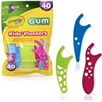 GUM - 10070942303108 Crayola Kids' Flossers, Grape, Fluoride Coated, Ages 3+, 40 Count (Pack of 6)