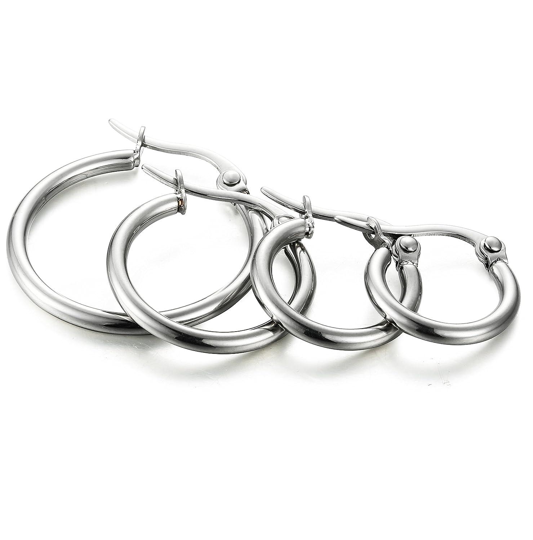 ORAZIO Stainless Earrings Huggie 10MM 20MM Image 3