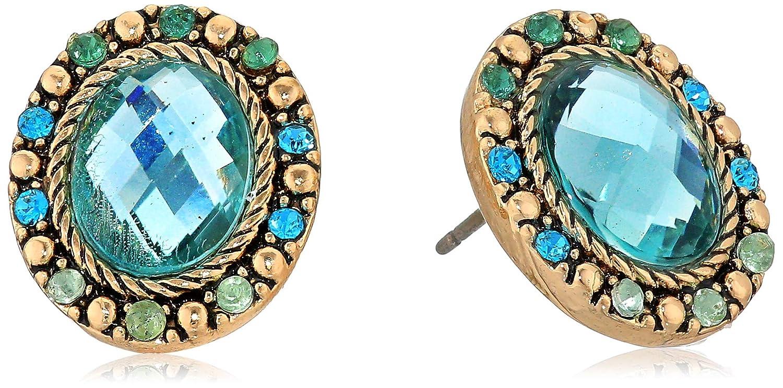 Napier Womens Gold//Blue Oval Button Earrings