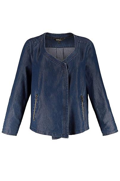 Ulla Popken Women's Plus Size Denim Look Wrap Jacket 722039