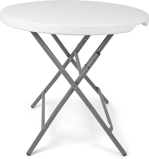 Vanage - Table de Jardin pliante ultra pratique - Ronde - Taille env. 80 x  80 x 74cm - Parfait pour l\'extérieur et Terasse