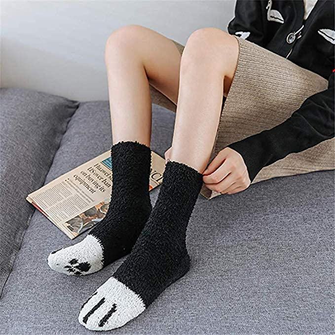 QKURT Calzini pantofole da 3 paia per donna Ragazza calzini invernali per interni Calzini sfocati soffici per la casa Calzini per dormire con artigli di gatto morbidi e carini