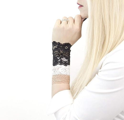 Amazoncom Set Of 3 Short Lace Wrist Cuff Stretch Bracelets Black