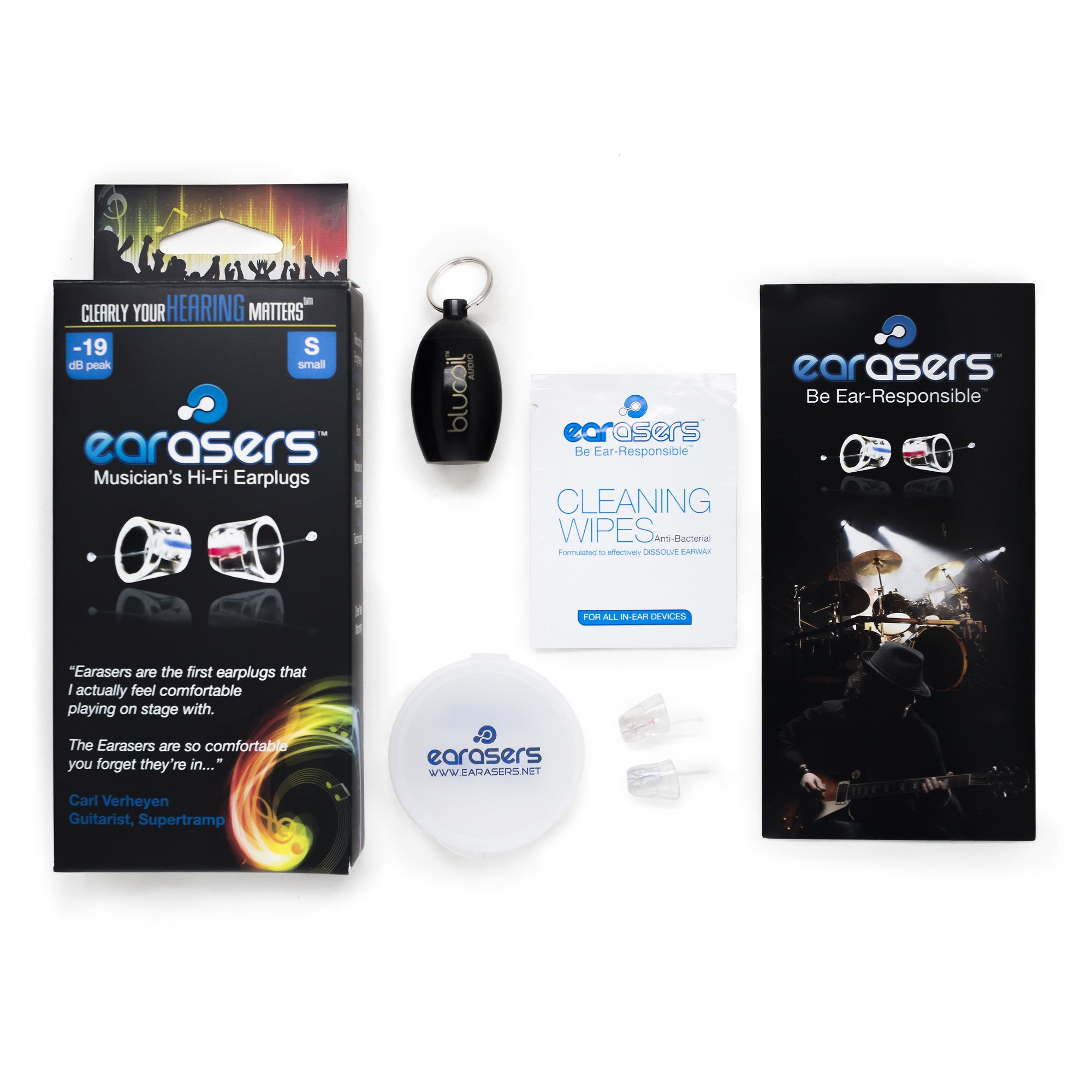 Earasers High Fidelity Musician's Ear Plugs - INCLUDES - Blucoil Limited Edition BLACK Carrying Case (Small)