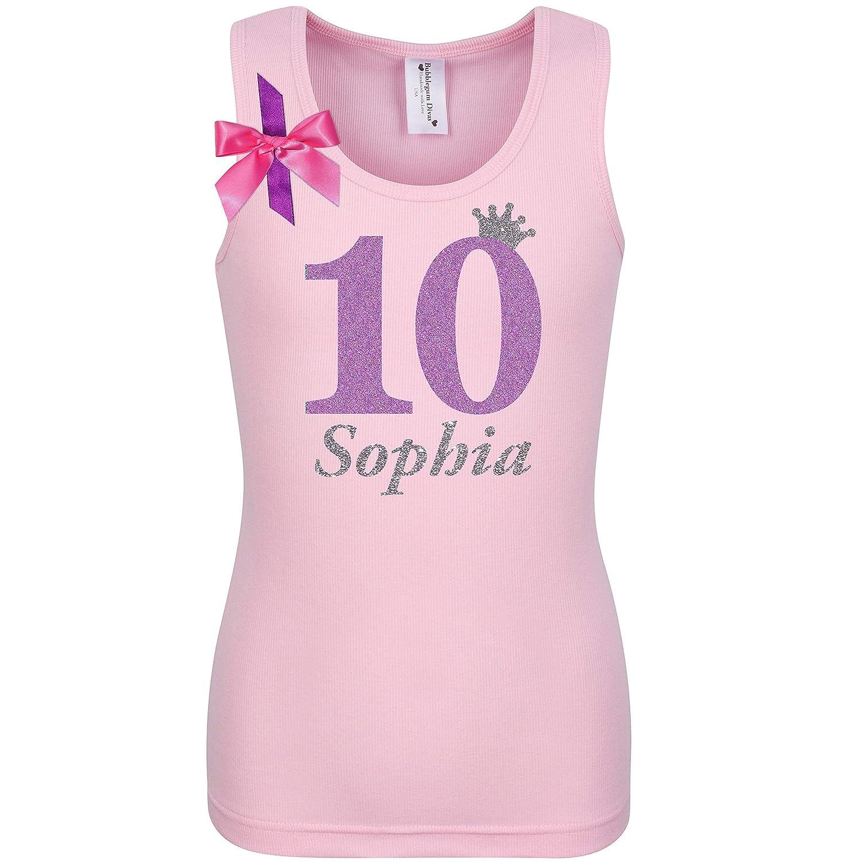 15786a9307ac6 Amazon.com: 10th Birthday Shirt Ten T-Shirt Tween Girls Tank Top Custom  Name Age 10 Glow Party Gift: Handmade