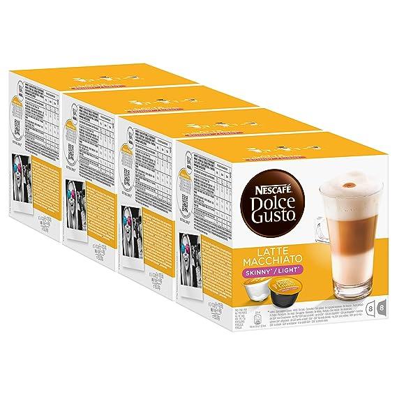 Nescafé Dolce Gusto Latte Macchiato Light, Paquete de 4, 4 x 16 Cápsulas (