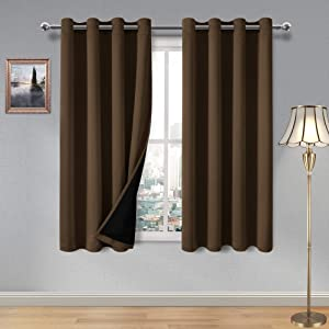 DWCN 100% Brown Blackout Curtains – Thermal Insulated, Energy Saving & Noise Reducing Bedroom and Living Room Lined Curtains, W 52 x L 63 Inch, Set of 2 Grommet Curtain Panels