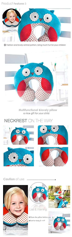 Bee Inovey Children Kids Baby Plush Pillow U Shape Head Rest Neck Protector Cushion Car Seat Travel