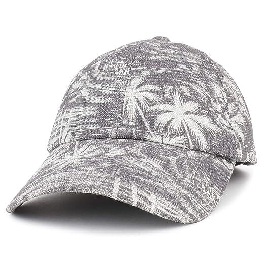 Trendy Apparel Shop Tropical Palm Tree Pattern Unstructured Denim Baseball  Cap - Grey 797467856dc