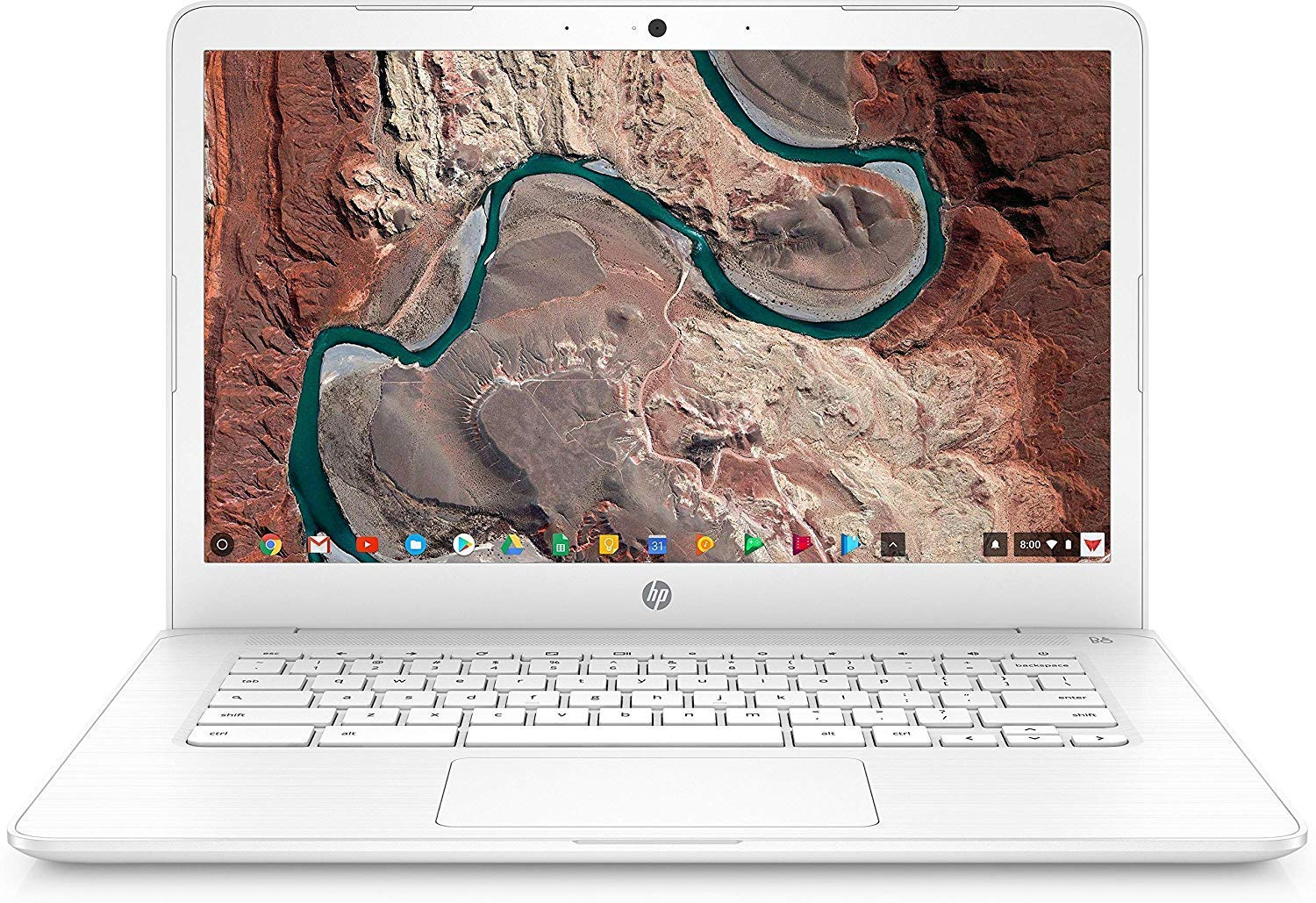 HP Chromebook 14, 14in Full HD Display, Intel Celeron N3350, Intel HD Graphics 500, 32GB eMMC, 4GB SDRAM, B&O Play Audio, Snow White, 14-ca051wm (Renewed)