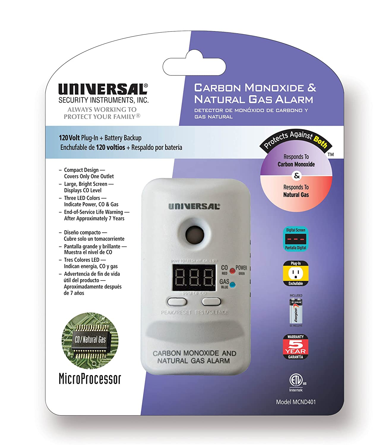 Amazon.com: Universal Security Instruments MCND401B M Series Plug-In Carbon Monoxide and Natural Gas Alarm with 9-Volt Battery Backup *2-Pack*: Home ...