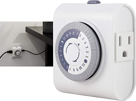 GE 24-Hour Heavy Duty Indoor Plug-in Mechanical Timer, 2 Grounded Outlets, 30 Minute Intervals, Daily On/Off Cycle, for Lamps, Seasonal, Christmas Tree Lights and Holiday Decorations, 15075