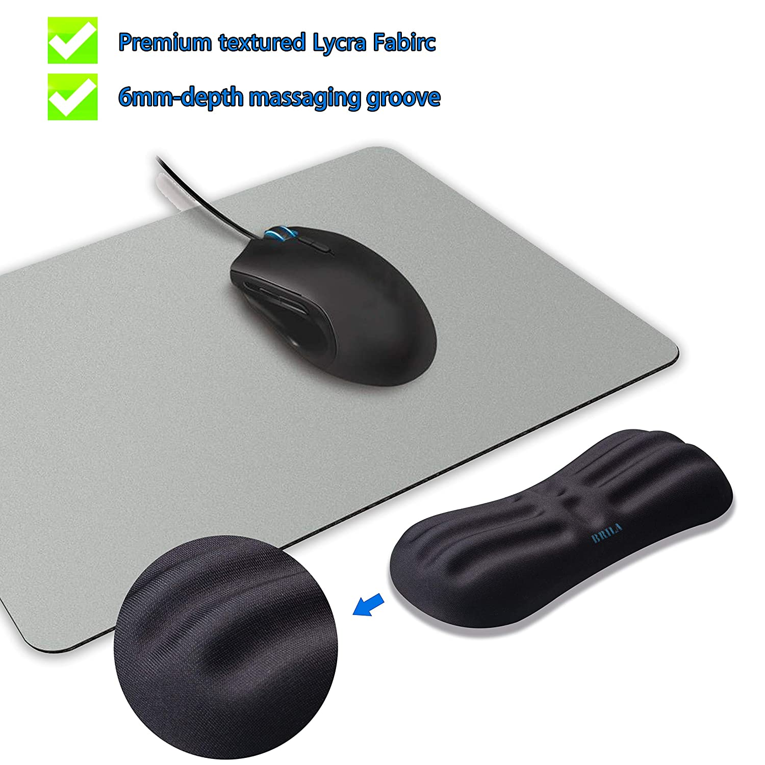 BRILA Gaming Mouse Wrist Rest Hand Pillow Support Pad PC Gaming Mice Ergonomic Design Comfy Soft Memory Foam Gel Padded Non-Slip Slim Wrist Cushion for Office Work Laptop