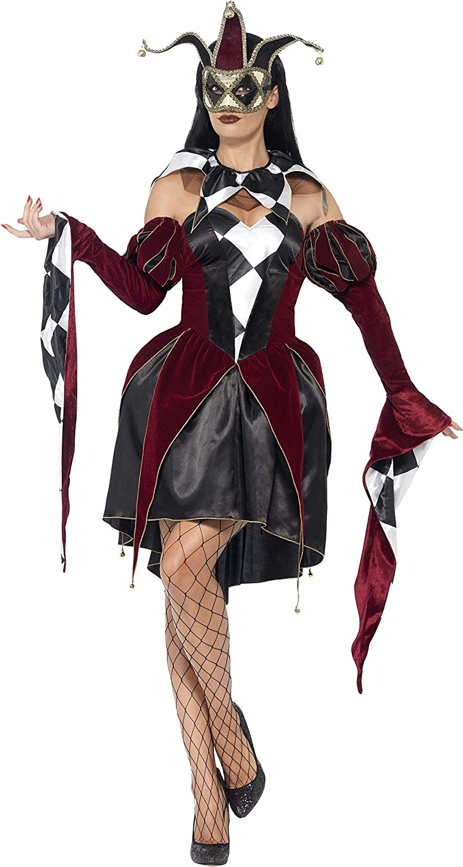 Smiffys-43652L Disfraz de arlequín gótico Veneciano, con Vestido, Mangas y Cuello, Color Negro, L-EU Tamaño 44-46 (Smiffy'S 43652L)