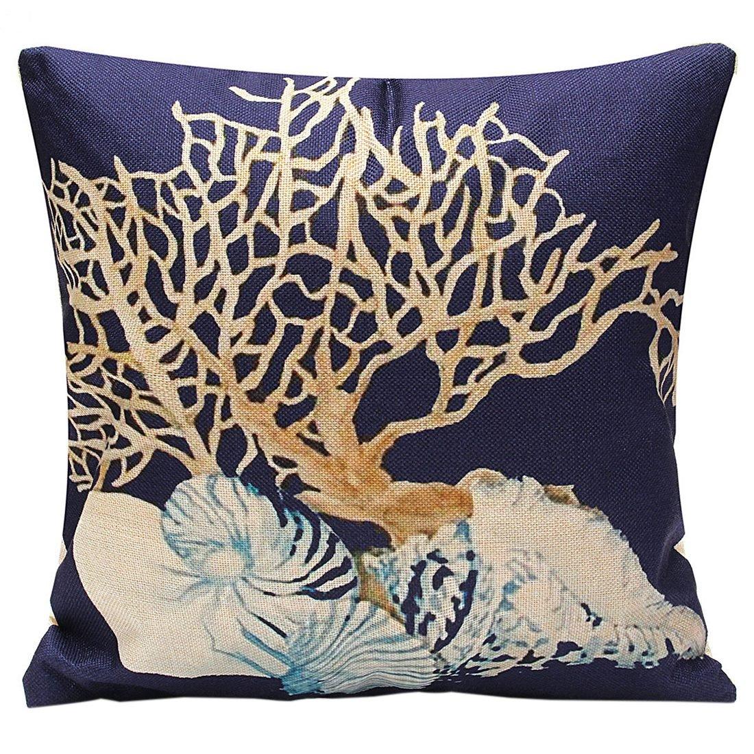 SODIAL(R) Home Decor Throw Pillow Case Ocean Coastal Beach Nautical Lumbar Cushion Cover