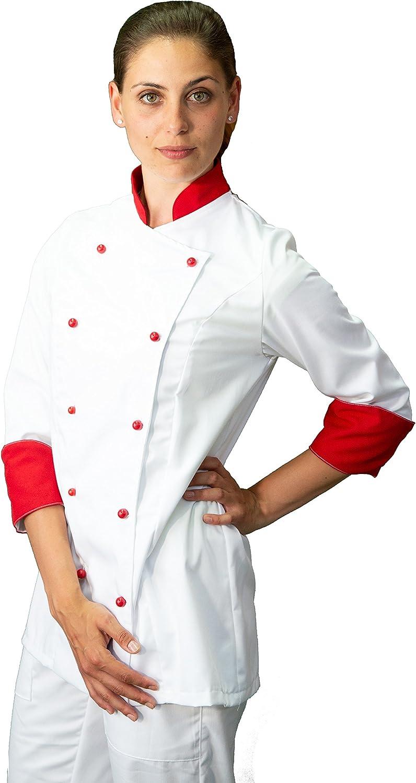 casacca chef donna bianca e rossa Made in Italy giacca cuoco tessile astorino RICAMO GRATUITO
