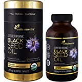 Naturments Black Cumin Seed Oil Capsules: 1250 Mg Organic, Unrefined, Cold Pressed, Extra Virgin Nigella Sativa Premium Dietary Supplement - Pure, Non GMO, Kosher, Halal Kalonji Oil - 60 Softgels