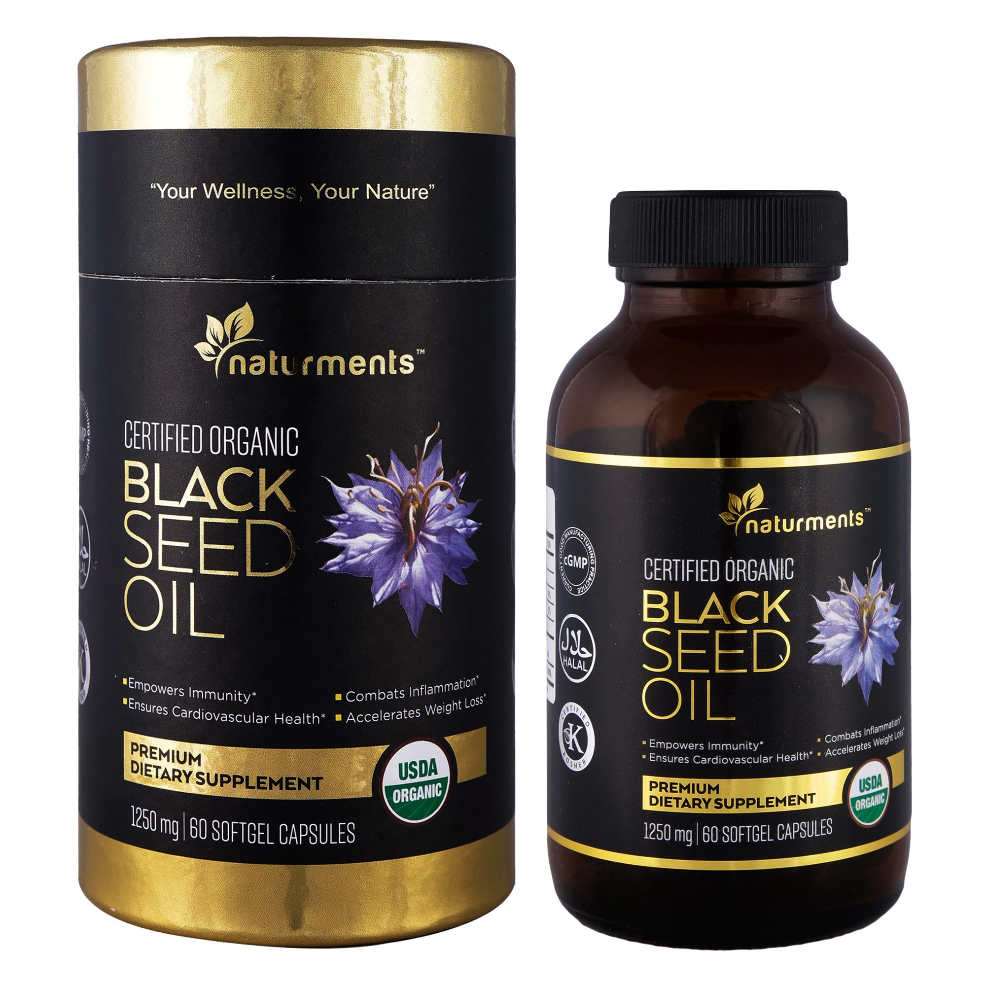 Black Cumin Seed Oil Capsules: 1250 Mg Organic, Unrefined, Cold Pressed, Extra Virgin Nigella Sativa Premium Dietary Supplement - Pure, Non GMO, Kosher, Halal Kalonji Oil - 60 Softgels