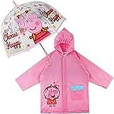 Paraguas Transparente Infantil y Chubasquero Pack Peppa Pig – Paraguas Infantil Burbuja y Chubasquero Niña Impermeable…