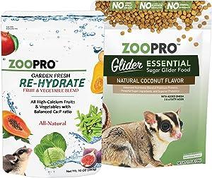 Sugar Glider Essential Food Starter Package - Includes Glider Essential Chicken Based High Protein Kibble & Healthy Garden Fresh Re-Hydrate Dried Vegetable Mix