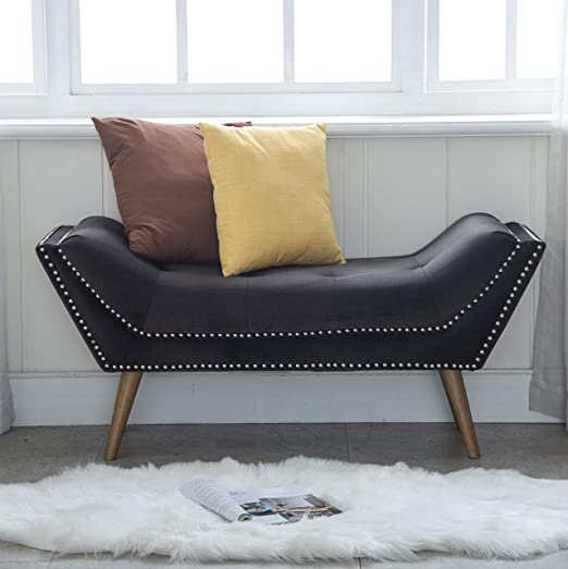 Tufted Upholstered Bedroom Bench, Fabric Rustic Ottoman Footstool for End  of Bed/Living Room/Bedroom/Hallway (Dark Gray)