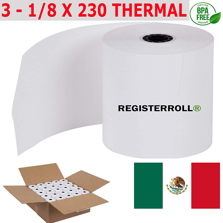 Amazon.com : ✅ 3 1/8 x 230 Rollo de Papel térmico 50 rollos ...