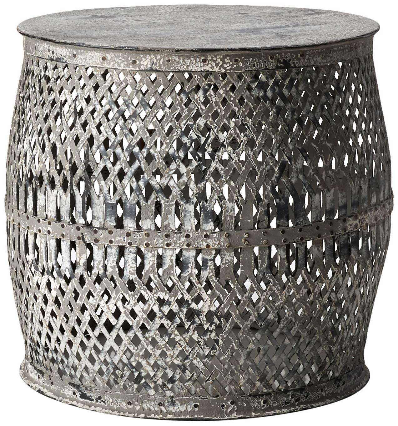 Creative Co-Op Distressed White Round Metal Drum Table