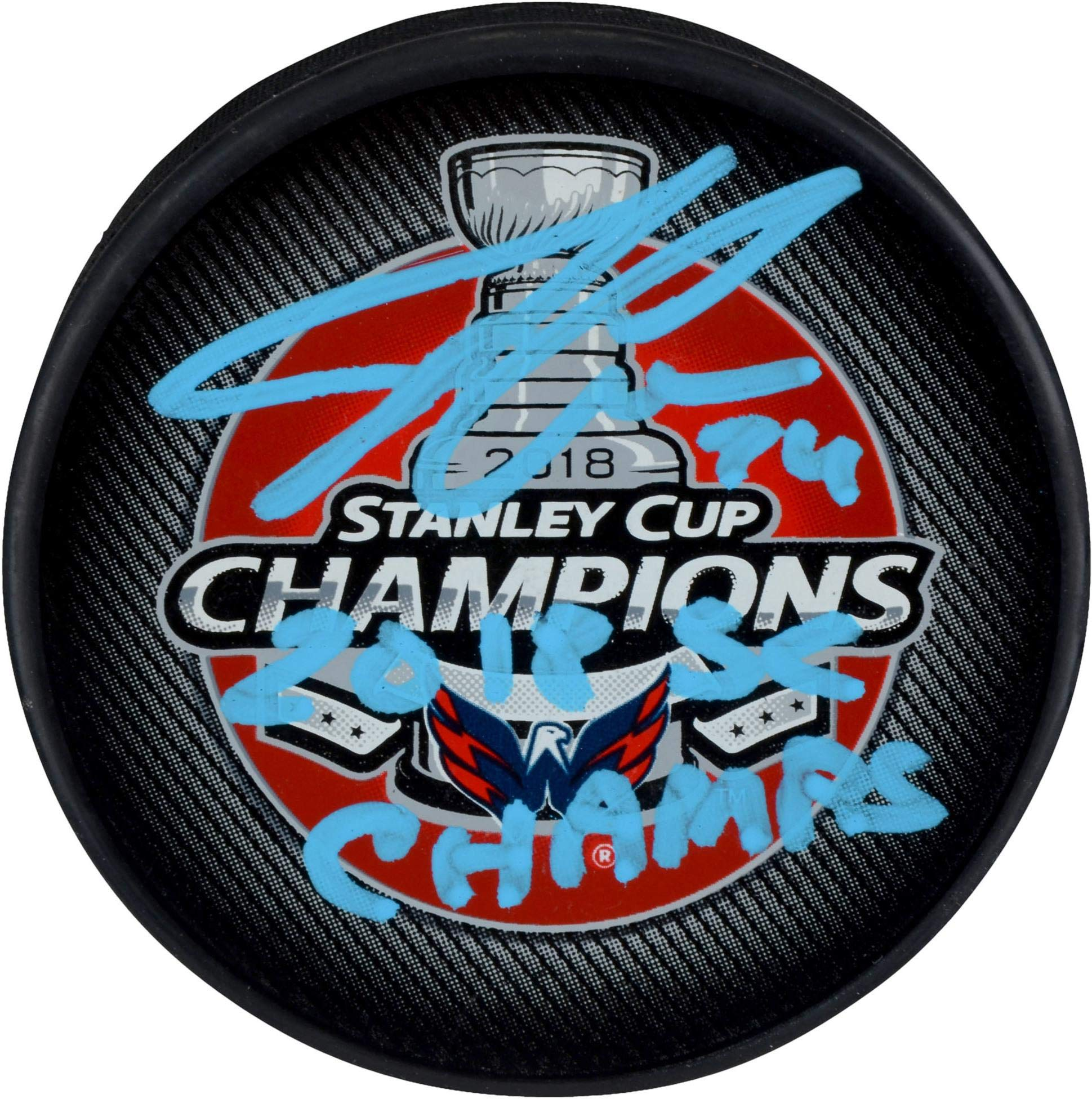 John Carlson Washington Capitals 2018 Stanley Cup Champions Autographed Stanley Cup Champions Logo Hockey Puck with 2018 SC Champs Inscription Fanatics Authentic Certified