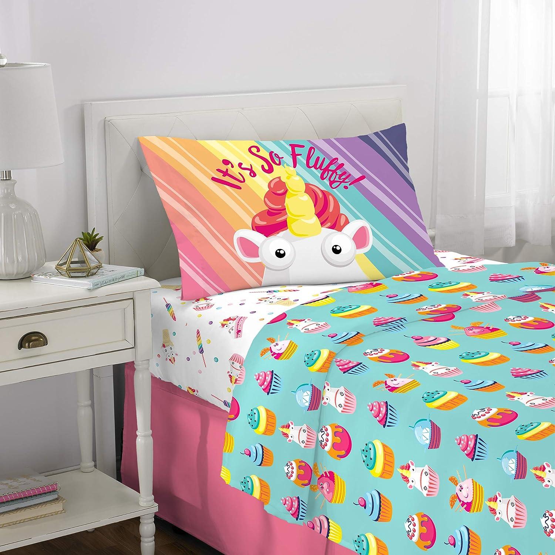 Franco Kids Bedding Super Soft Microfiber Sheet Set, 3 Piece Twin Size, Fluffy Unicorn