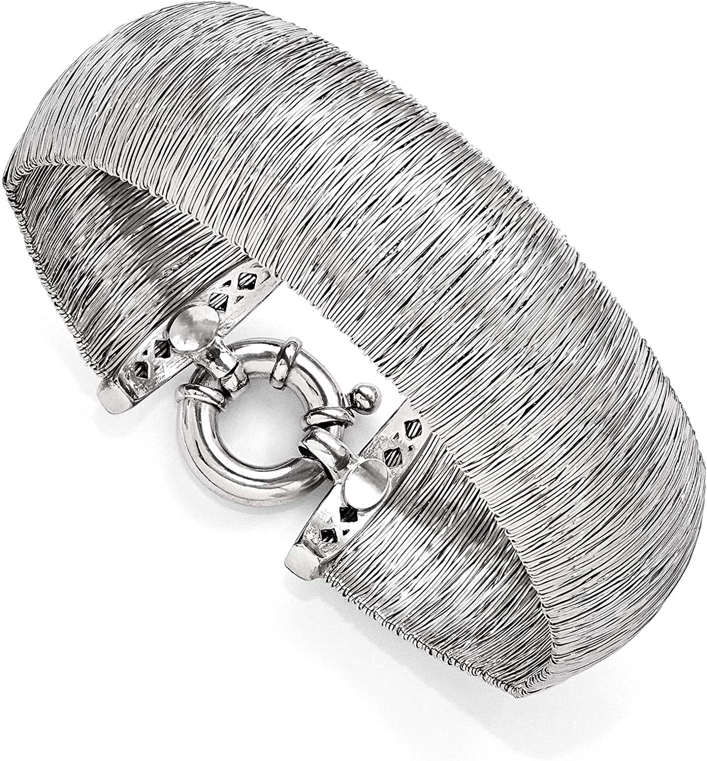 925 Sterling Silver Polished /& Textured Dome Bangle Bracelet 7.5 by Leslies