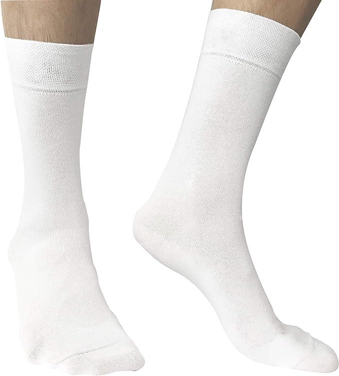 Calcetines hombres algodon peinado de alta calidad - Blanco - Pack ...