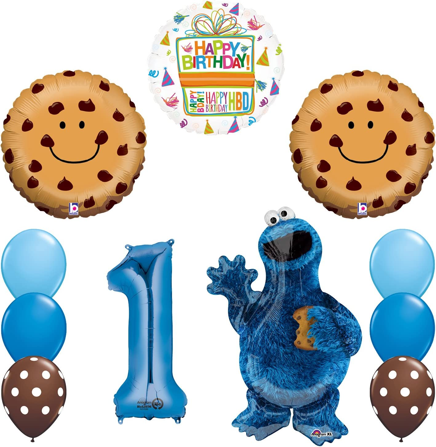Mayflower Products Sesame Street Cookie Monsters 1st Birthday Party Supplies and Balloon Decorations