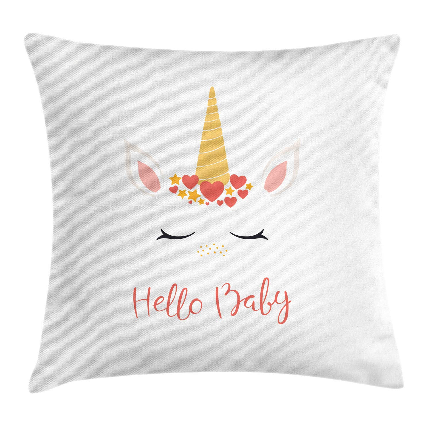 Ambesonne Hello Baby Throw Pillow Cushion Cover, Nursery Lettering and Animal Dreaming with Horns Hearts Children's Theme, Decorative Square Accent Pillow Case, 24'' X 24'', White Burnt Sienna by Ambesonne