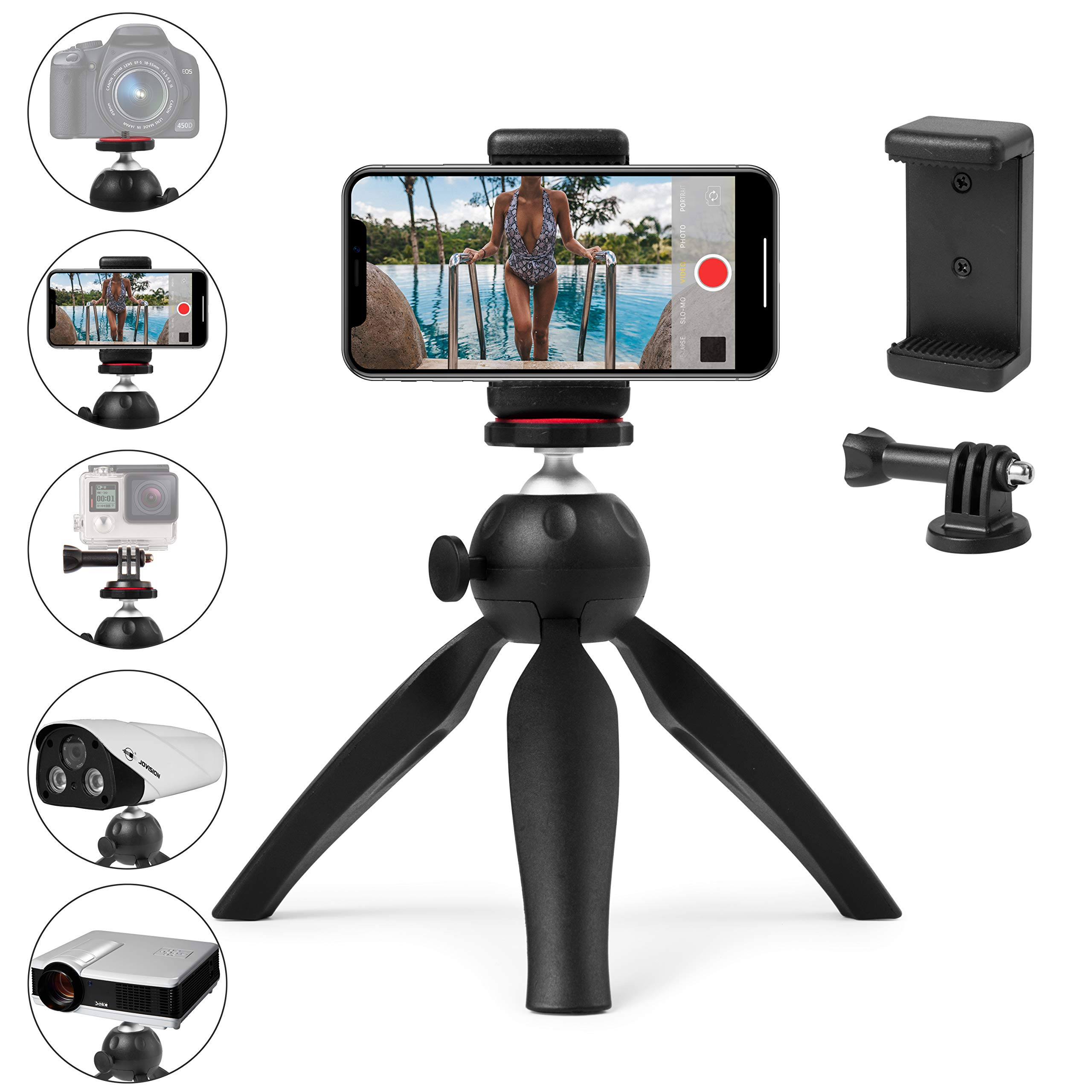 UKCOCO 5.7 Inches Ring Light with Tripod Stand Flexible Mobile Phone Holder for Phone Camera