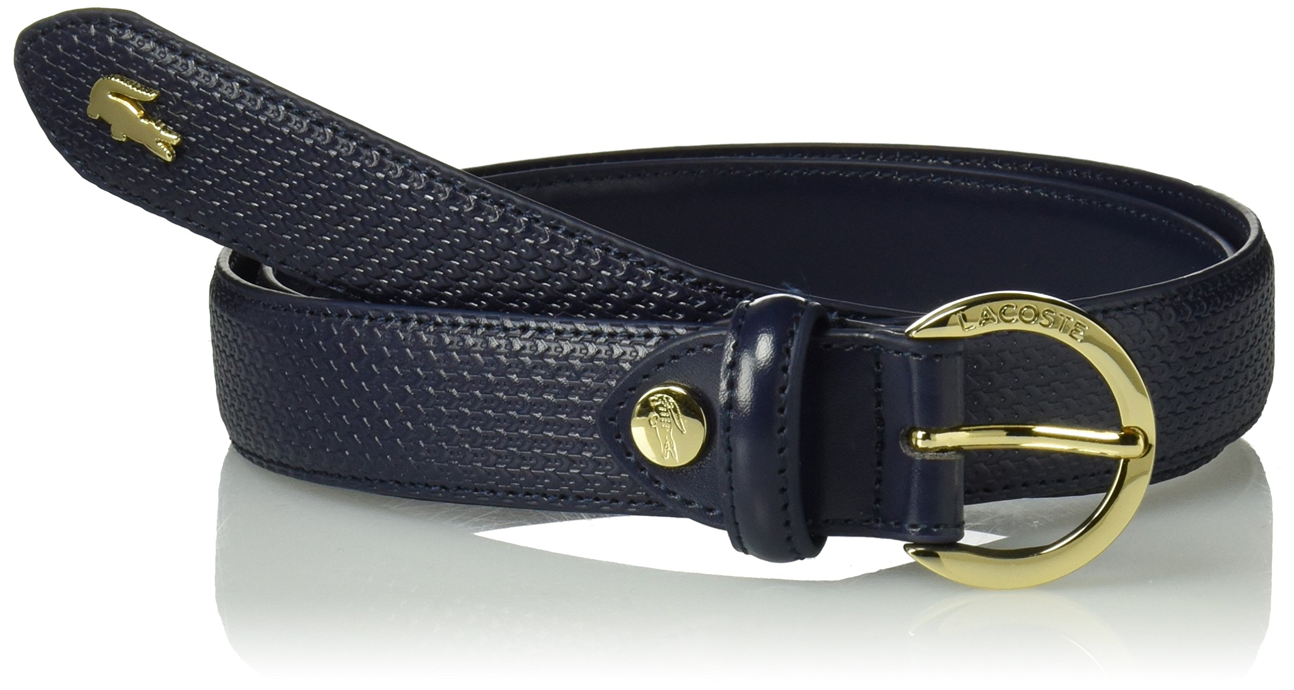 Lacoste Women's Premium Chantaco Leather Belt Accessory, peacoat, 90