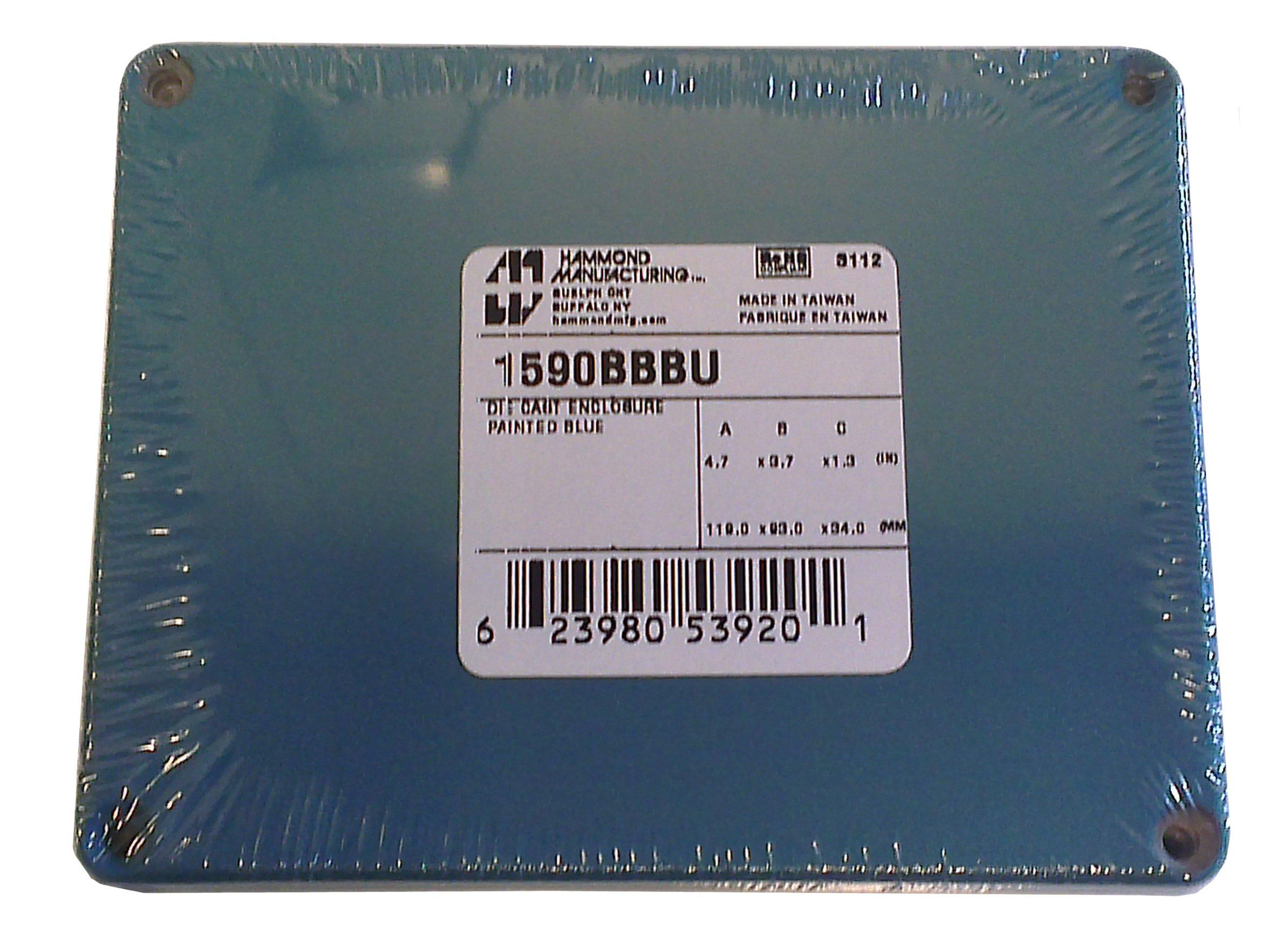 Hammond 1590BBBU Blue Diecast Aluminum Enclosure -- Inches (4.67'' x 3.68'' x 1.18'') mm (119mm x 94mm x 30mm)