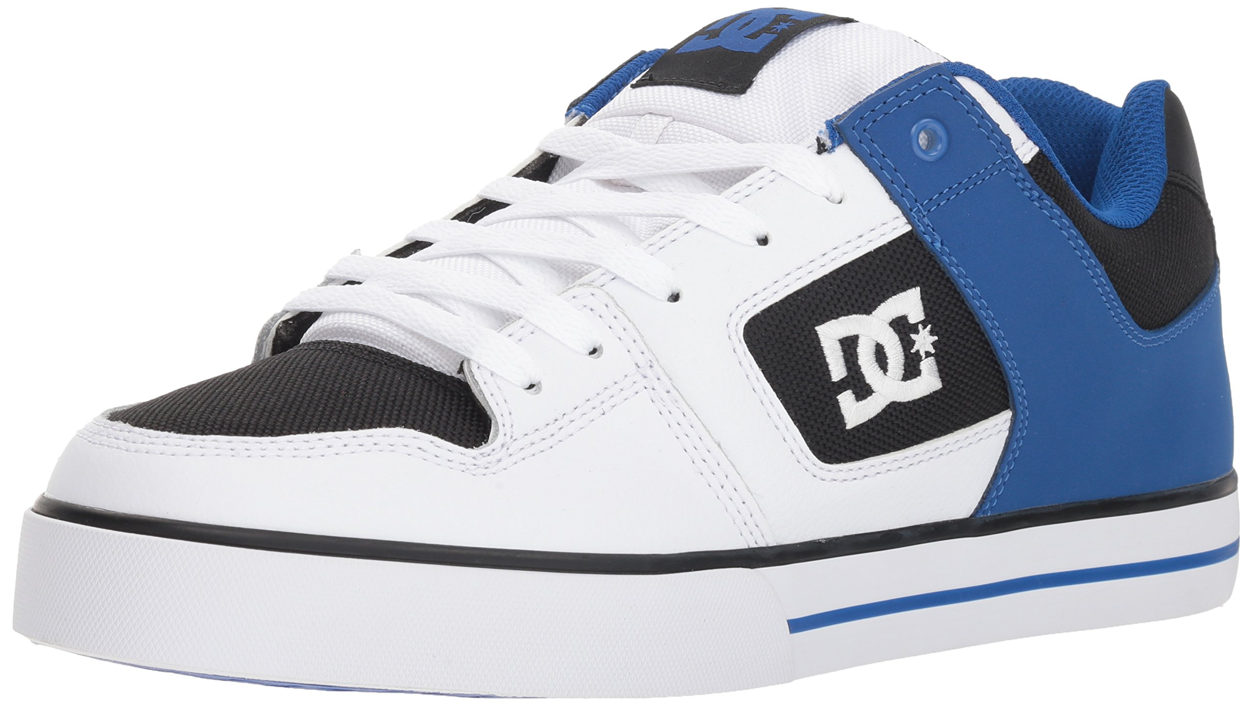 DC Men's Pure Action Skate Shoe, White/Black/Blue, 6 Medium US