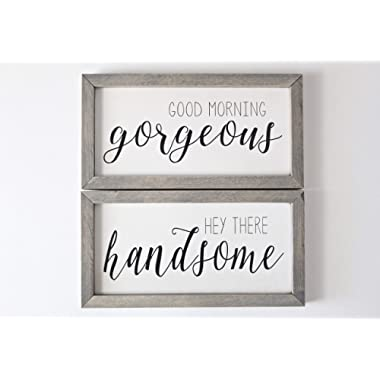 Good Morning Gorgeous | Hey There Handsome | Both Signs | Framed Wood Signs | Custom Home dećor | Rustic | Farmhouse (White/Black/Gray)