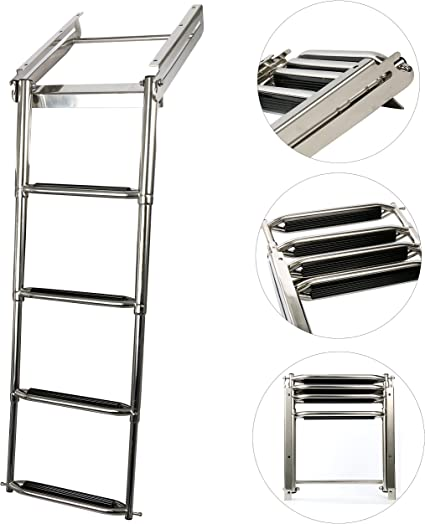 Amarine Made Telescoping 4 Step Stainless Steel Ladder,Extending Swim Step Ladder with Long Mounting Bracket for Marine Boat Yacht Swimming Pool