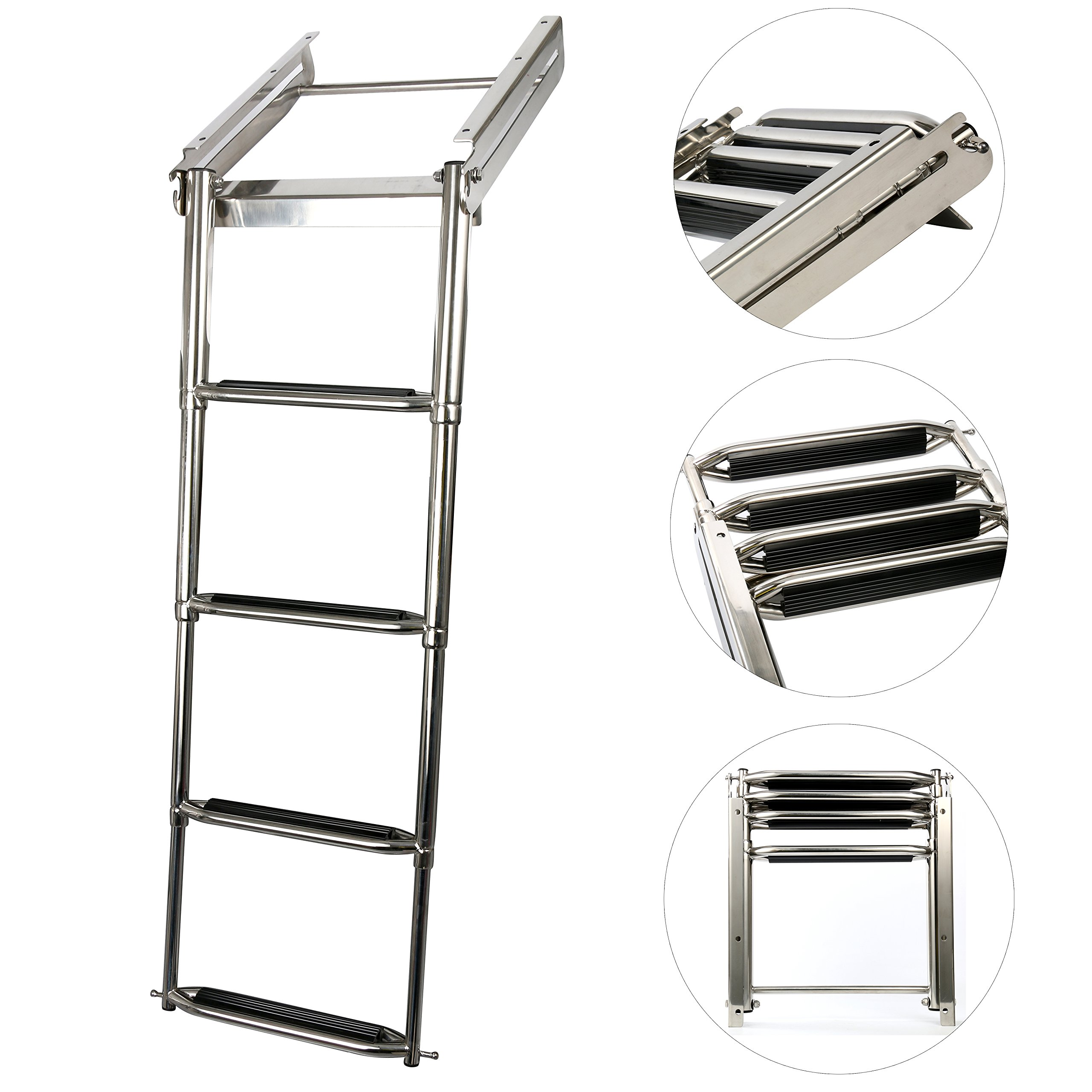 Amarine-made 4-step Under Platform Slide Mount Boat Boarding Ladder, Telescoping, Stainless Steel by Amarine-made