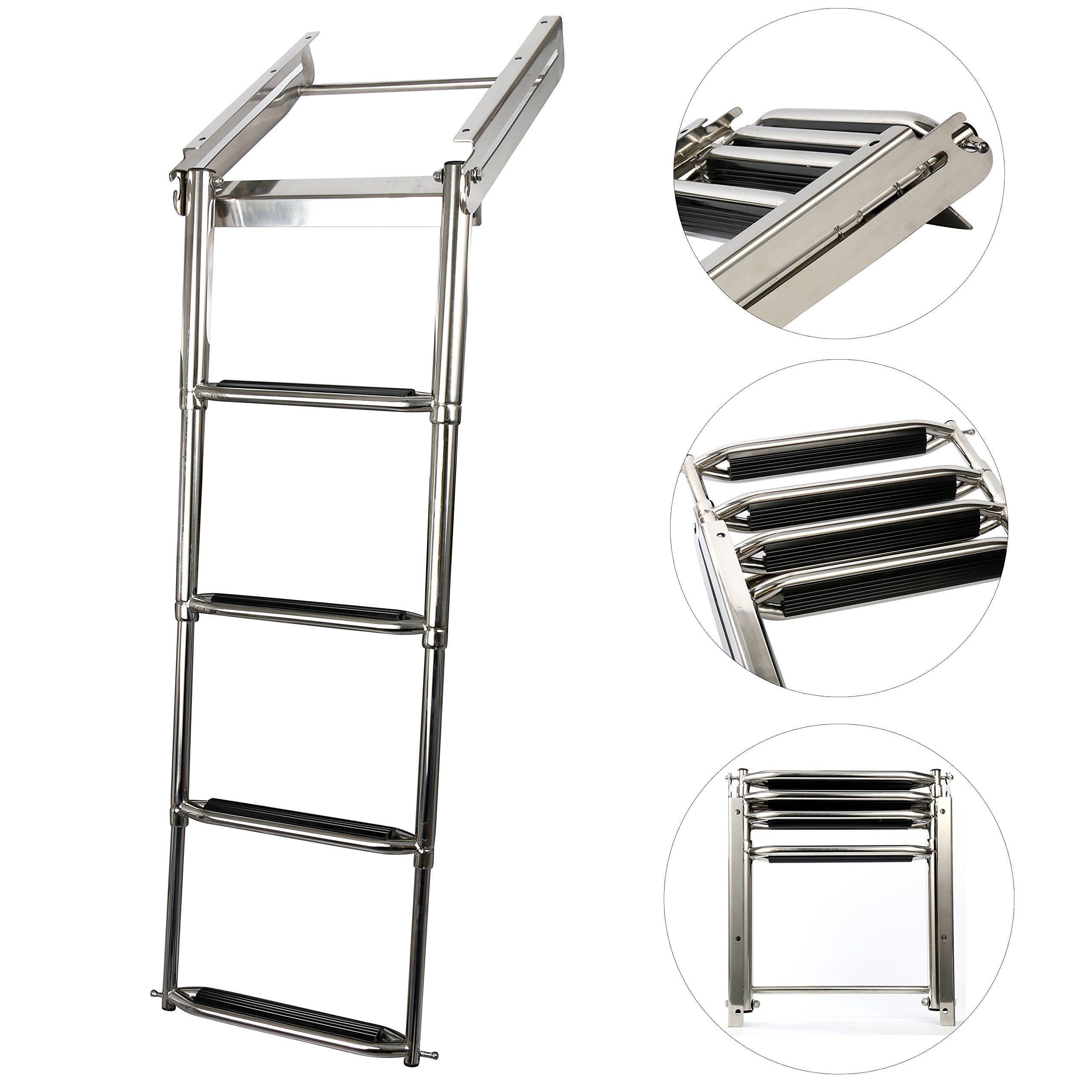 Amarine-made 4-step Under Platform Slide Mount Boat Boarding Ladder, Telescoping, Stainless Steel