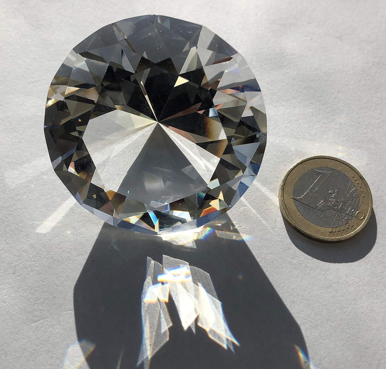 Rhinestone Paradise Kristall Glas Diamant Gro/ß 5cm Brillant klar Dekodiamant Briefbeschwerer Glasdiamant 50mm Deko